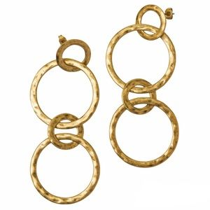 Boden Delphine Drop Circle Hammered Earrings